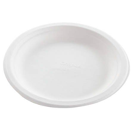 "Genpak® Harvest® Fiber Dinner Plates, 8 3/4"", Natural White, 50 Plates Per Pack, Carton Of 10 Packs"