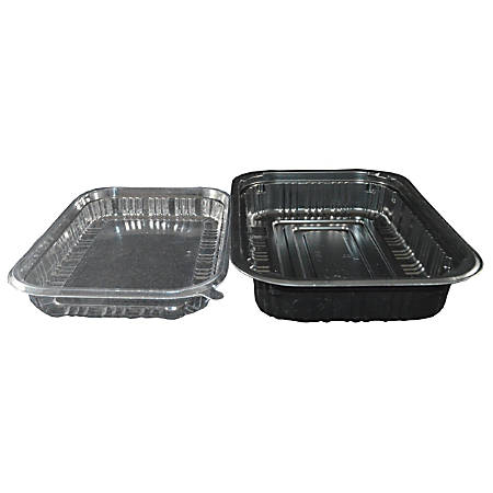 Hawaii's Finest Products 2-Piece Food Containers, Medium, Black/Clear, Pack Of 100 Containers
