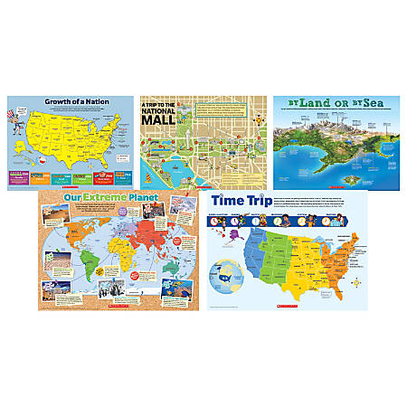 Scholastic teachers friend map skills posters grades 3 6 set of 5 by scholastic teachers friend map skills posters gumiabroncs