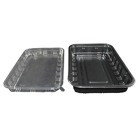 "Hawaii's Finest Products Large Food Containers, 5 3/4""H x 8 1/2""W x 1 7/8""D, Black/Clear, Pack Of 100 Containers"