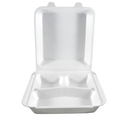 "Hawaii's Finest Products Hinged Containers, 3 Compartments, 8 3/4"" x 7 7/8"", White, Pack Of 100 Containers"