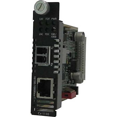 Perle C-1110-S2LC10 Media Converter - 1 x Network (RJ-45) - 1 x LC Ports - DuplexLC Port - 1000Base-LX/LH, 10/100/1000Base-T - Internal