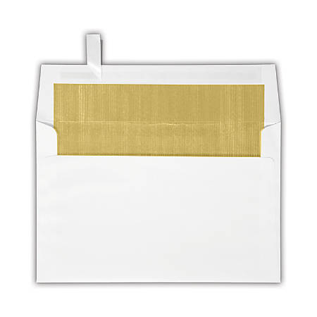 "LUX Invitation Envelopes With Peel & Press Closure, A9, 5 3/4"" x 8 3/4"", Gold/White, Pack Of 250"