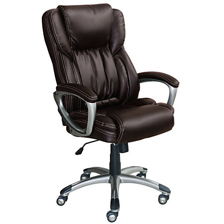 Serta Works Bonded Leather High-Back Office Chair, Midnight Black/Silver