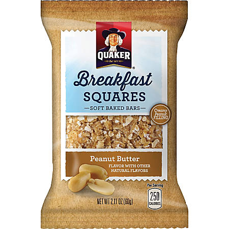 Quaker Oats Foods Breakfast Squares Soft Baked Bars - Individually Wrapped, No Artificial Flavor - Peanut Butter - 2.11 oz - 6 / Box