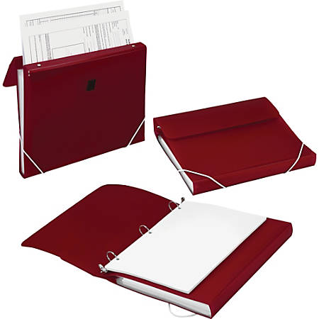 """Samsill Duo 2-In-1 Poly 7-Pocket Organizer/Ring Binder, 1"""" Rings, Letter Size, Burgundy"""