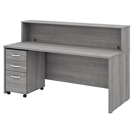 "Bush Business Furniture Studio C 72""W x 30""D Reception Desk With Shelf And Mobile File Cabinet, Platinum Gray, Standard Delivery"