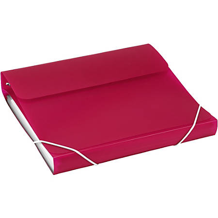 "Samsill Duo 2-In-1 Poly 7-Pocket Organizer/Ring Binder, 1"" Rings, Letter Size, Hot Pink"