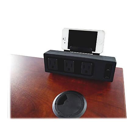 Lorell Desktop AC Power Center - 3 x AC Power, 2 x USB - Desk Mountable - Black
