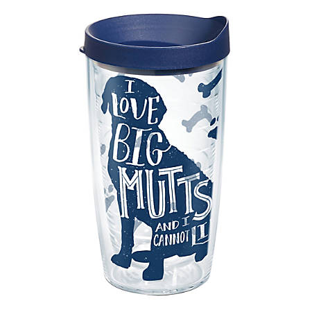 Tervis Project Paws Tumbler With Lid, I Love Big Mutts And I Cannot Lie, 16 Oz, Clear/Navy