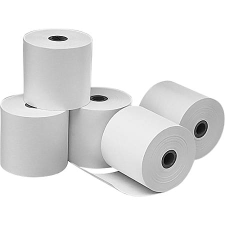 """NCR Financial Rolls, Single-Ply, 3 1/4"""" x 240', White, Pack Of 5"""