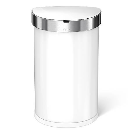 simplehuman Semiround Steel Sensor Trash Can, With Liner Pocket, 12 Gallons, White