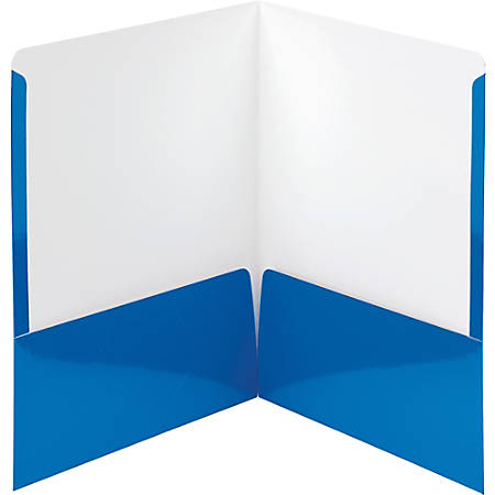 "Smead High-Gloss Two-Pocket Folders - Letter - 8 1/2"" x 11"" Sheet Size - 2 Pocket(s) - Blue - 25 / Box"