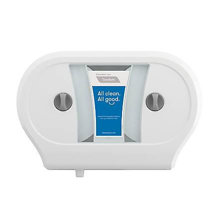 "Tandem® Double JRT Bathroom Tissue Dispenser, 22 3/8""H x 15 5/16""W x 6 1/2""D, White"