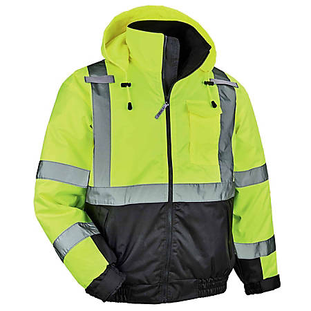 Ergodyne GloWear 8377 Type-R Class 3 Quilted Bomber Jacket, Medium, Lime