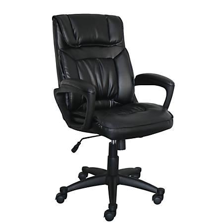 Serta Style Hannah I High-Back Office Chair, Bonded Leather, Comfort Black/Black