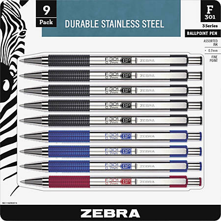 Zebra Pen BCA F-301 Stainless Steel Ballpoint Pens - Fine Pen Point - Refillable - Black - Stainless Steel Barrel - 9 / Pack