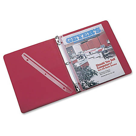 """Rubbermaid 3-Hole Plastic Edge Strip Magazine Hldr - 11.6"""" Height x 1"""" Width - Ring Binder - Frost - Plastic - 12 / Pack"""