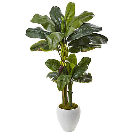 Nearly Natural 5'H Polyester Double-Stalk Banana Tree With Clay Planter, Green/White