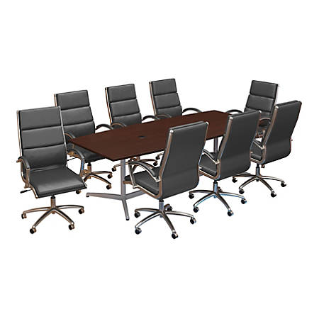 """Bush Business Furniture 96""""W x 42""""D Boat Shaped Conference Table with Metal Base and Set of 8 High Back Office Chairs, Harvest Cherry, Standard Delivery"""