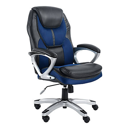 Serta Works Faux Leather/Mesh High-Back Office Chair, Streamline Blue/Silver