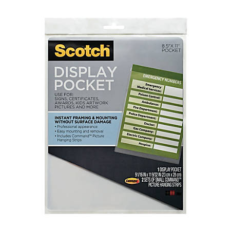 "Scotch® Display Pocket, 9"" x 11"", Clear"