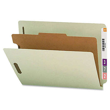 Smead® Pressboard Classification Folders With SafeSHIELD® Fasteners, End-Tab, 1 Divider, Letter Size, 60% Recycled, Gray/Green, Pack Of 10