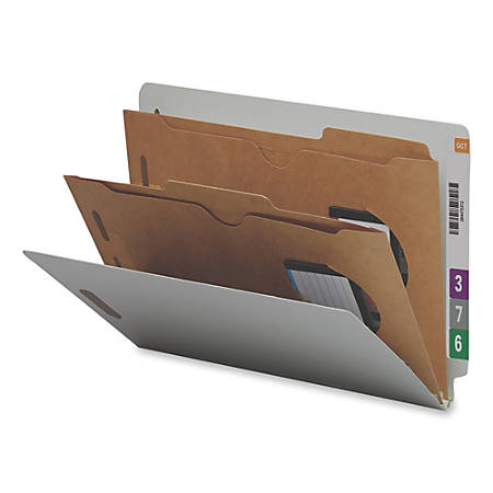 """Smead® Pocket-Style End-Tab Classification Folders, 8 1/2"""" x 14"""", 2 Divider, 2 Partition, 60% Recycled, Gray/Green, Pack Of 10"""