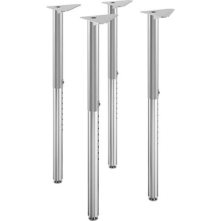 "HON® Build Adjustable Post Legs, 25""-35"", Platinum Metallic, Pack Of 4"