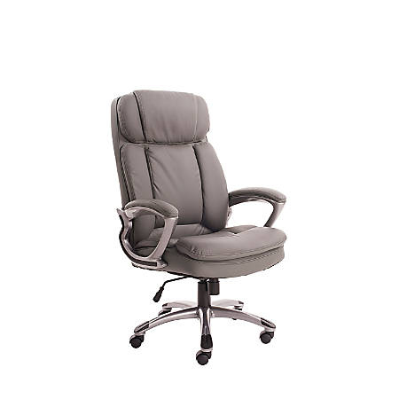 Serta® Big And Tall Bonded Leather High-Back Office Chair, Opportunity Gray/Silver