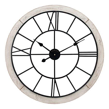 FirsTime & Co.® Timeworn Cottage Wall Clock, Whitewash/Aged Black