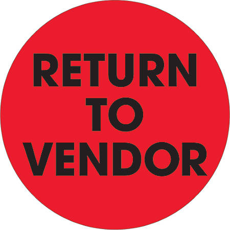 "Tape Logic® Preprinted Special Handling Labels, DL1268, Return To Vendor, Round, 2"", Fluorescent Red, Roll Of 500"