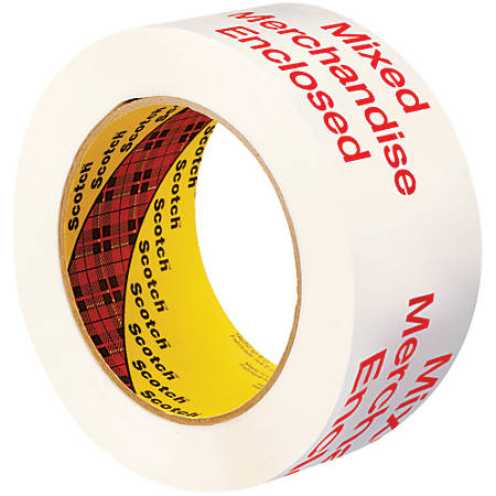 """3M™ 3775 Printed Message Tape, 3"""" Core, 2"""" x 110 Yd., White/Red, Case Of 6"""
