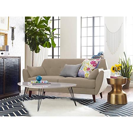Elle Décor Amelie Mid-Century Modern Sofa, Beige/Chestnut
