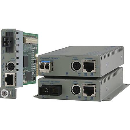Omnitron Systems 10/100BASE-TX UTP to 100BASE-FX Media Converter and Network Interface Device - 1 x Network (RJ-45) - 1 x ST Ports - 10/100/1000Base-T - Internal