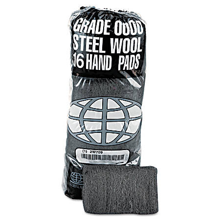 GMT Steel Wool Hand Pads, #0000 Super Fine, 16 Pads Per Pack, Carton of 12 Packs