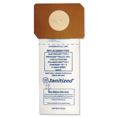 Janitized® Vacuum Filter Bags For Select Machines, White, Pack Of 100 Bags