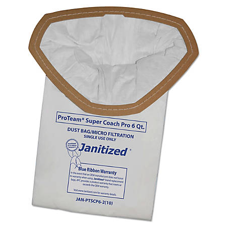 Janitized® Vacuum Filter Bags For Select Machines, 6 Qt, Pack Of 100 Bags