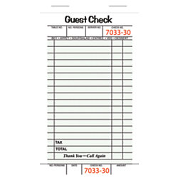 "Office Depot® Brand Guest Check Book, 1-Part, 3 4/10"" x 6 3/4"", Pad Of 50 Sheets, Pack Of 10 Pads (500 Guest Checks Total)"