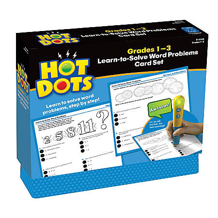 Educational Insights Hot Dots® Learn-To-Solve Word Problems Card Set, Grades 1 - 3