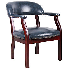 Boss Captains Guest Arm Chair BlueMahogany