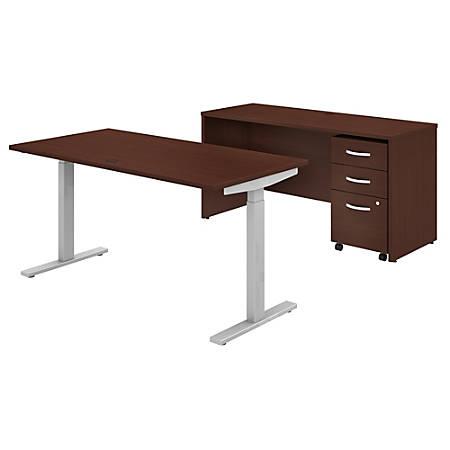 "Bush Business Furniture Studio C 60""W x 30""D Height-Adjustable Standing Desk, Credenza And Mobile File Cabinet, Harvest Cherry, Standard Delivery"