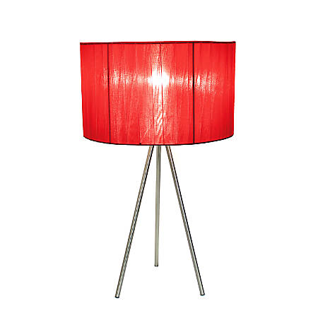 """Simple Designs Tripod Table Lamp, 19 3/4""""H, Red Shade/Brushed Nickel Base"""