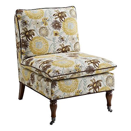 Linon Lucia Pillow Top Chair, Floral/Antique Tobacco