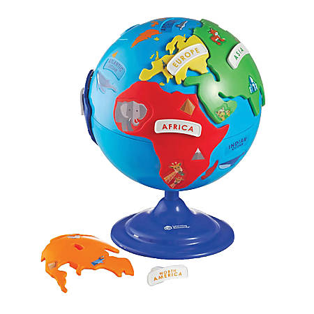 "Learning Resource Puzzle Globe, 8"", Blue"