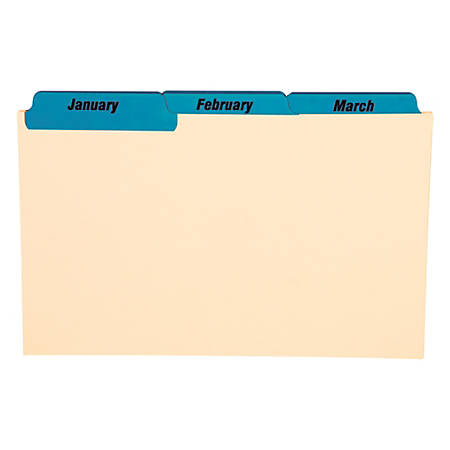"""Oxford® Manila Card Guides With Laminate Tabs, Monthly, 5"""" x 8"""", Manila; Blue Tabs"""