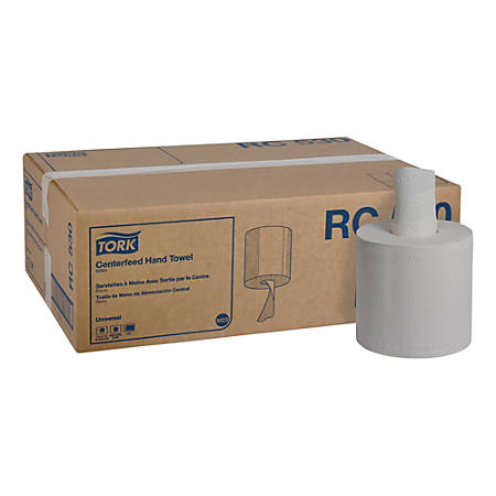 """Tork Advanced 2-Ply Centerfeed Paper Hand Towels, 7-5/8"""" x 11-3/4"""", White, 530 Towels Per Roll, Case Of 6 Rolls"""