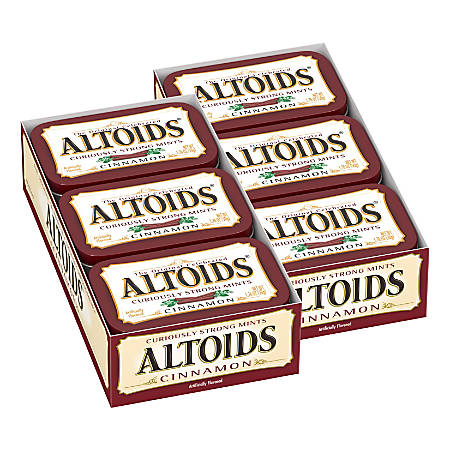 Altoids® Curiously Strong Mints, Cinnamon, 1.76 Oz, Pack Of 12 Tins