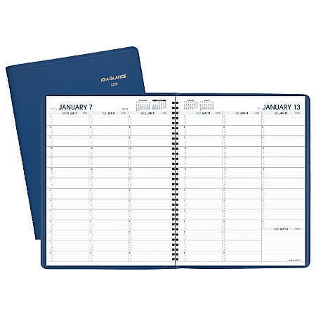 """AT-A-GLANCE® Fashion Color Weekly Appointment Book/Planner, 8 1/2"""" x 10 7/8"""", Blue, January to December 2019"""