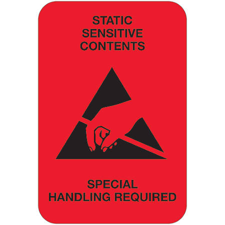 """Tape Logic® Preprinted Shipping Labels, DL1372, Static Sensitive Contents, Rectangle, 2"""" x 3"""", Fluorescent Red, Roll Of 500"""